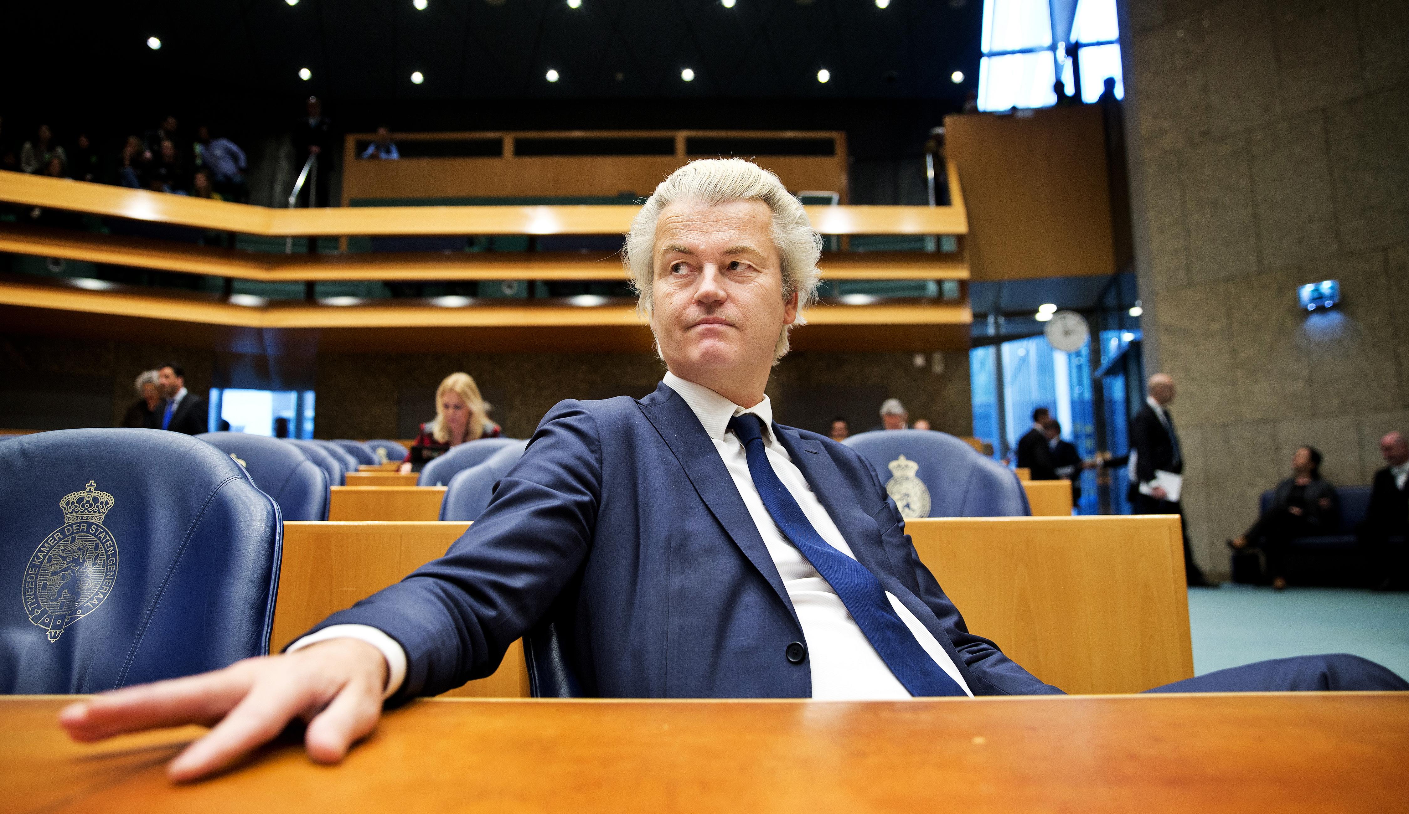 ## VRIJE FOTO ## DEN HAAG - Geert Wilders (PVV). Kamerleden in de tweede kamer tijdens het vragenuurtje. - FOTO GUUS SCHOONEWILLE